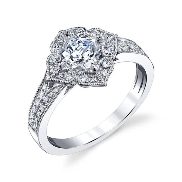 Flower Style Women's Bridal Wedding Ring 14k White Gold 925 Silver Round Cut CZ