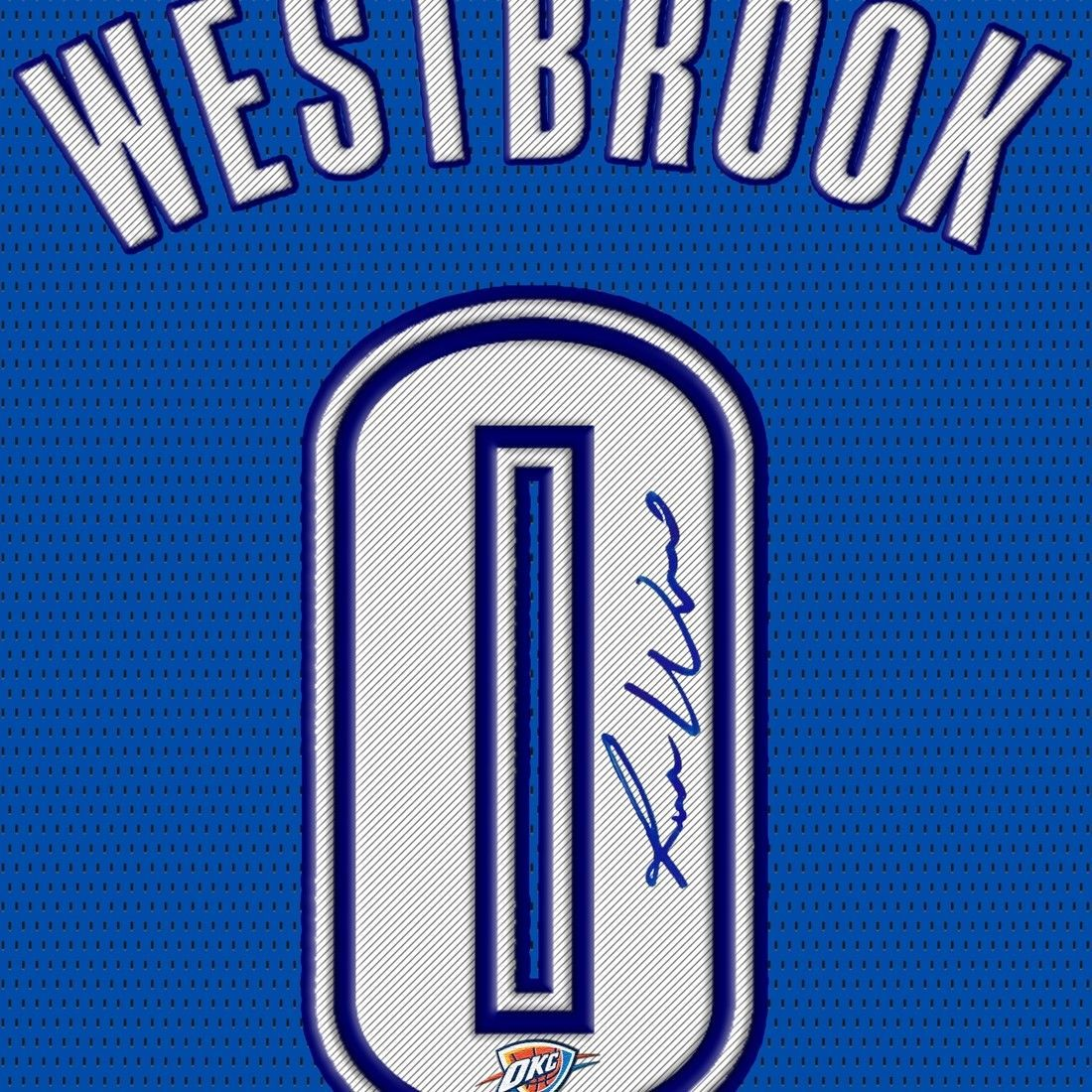 Russell Westbrook okc signed autograph NBA printed on Canvas 100% Cotton Framed