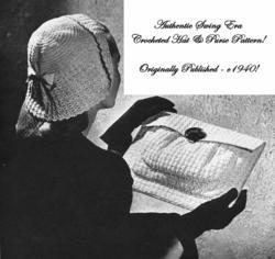 c1940 40s Swing Ladys Crochet WWII Hat Purse Bag Pattern DIY Millinery How-to 1
