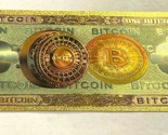 US Seller 10 Bitcoin BTC Gold Banknote Crypto BANKNOTE BILL NOTE gold foil Carat - £3.40 GBP