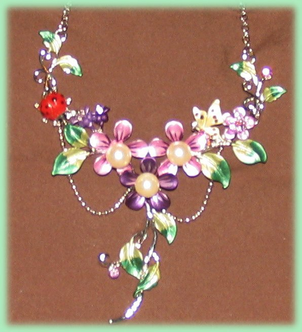 Floral Necklace Earring Set Ladybug & Butterfly Purple Crystals