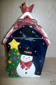 "Cookie Jar Snow Man Tree Bird on House  GKAD 12 "" Tall"
