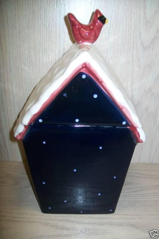 "Cookie Jar Snow Man Tree Bird on House  GKAD 12 "" Tall image 2"