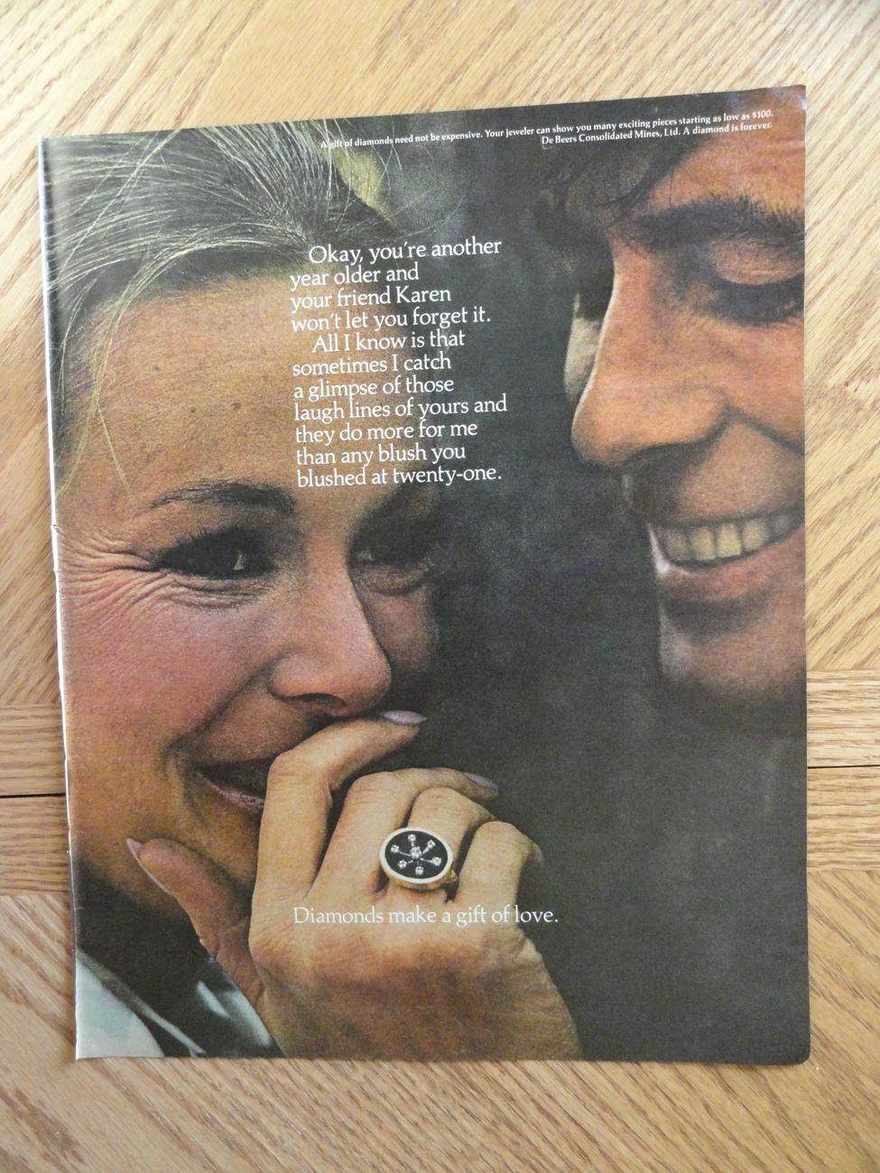 Diamonds make a gift of love orinigal 1972 mag. print ad.10  Bonanza