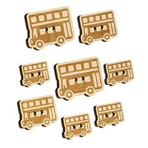 London Double Decker Bus Public Transportation Wood Buttons for Sewing K... - $9.99