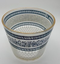 "JEANNETTE GLASS PATRICIAN BLUE GRECIAN & WHITE GREEK KEY 5"" ICE BUCKET 1... - $11.88"