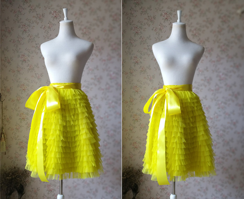 YELLOW Tiered Tulle Skirt Yellow High Waisted Midi Tulle Skirt Tiered Tutu Skirt