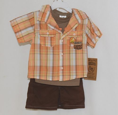 Little Rebels Boys 3 Piece Orange Brown Monkey Business Short Set Size 18 months