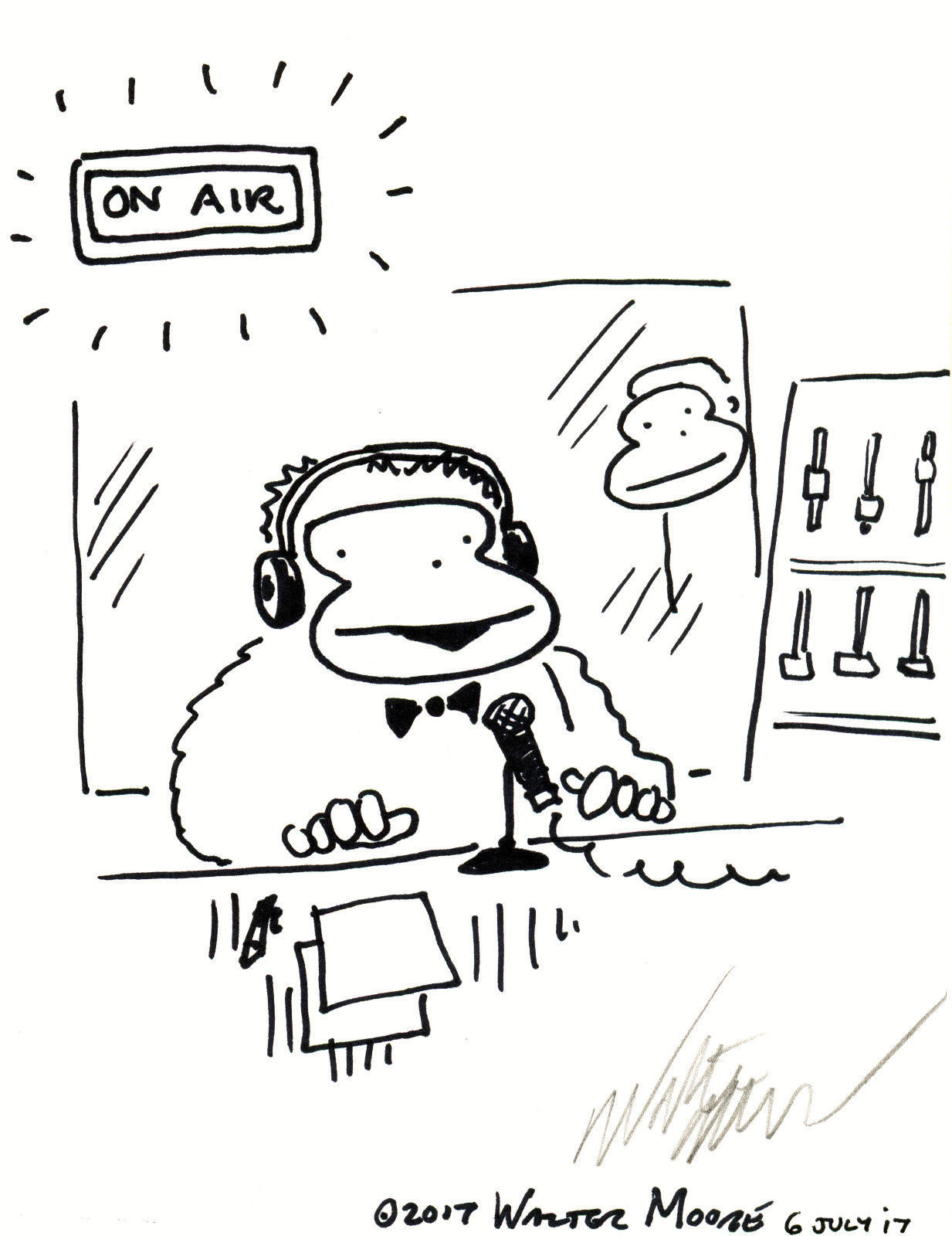 Primary image for Radio Ape Goes on the Air. Original Signed Cartoon by Walter Moore
