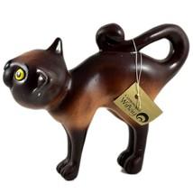 Communidad Winay Ceramic Brown Cat Kitty Kitten Figurine Handmade in Bolivia image 2