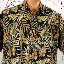 Cooke Street Hawaiian Aloha Shirt Black Gold Brown Monstera Ferns Mens L - $20.56