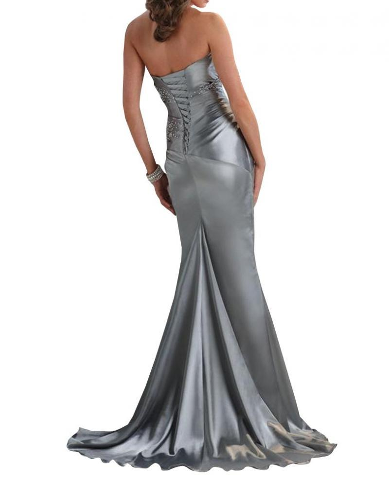 Women's Silver Long Elegant Evening Dress Mermaid Formal Prom Gown Party Dress
