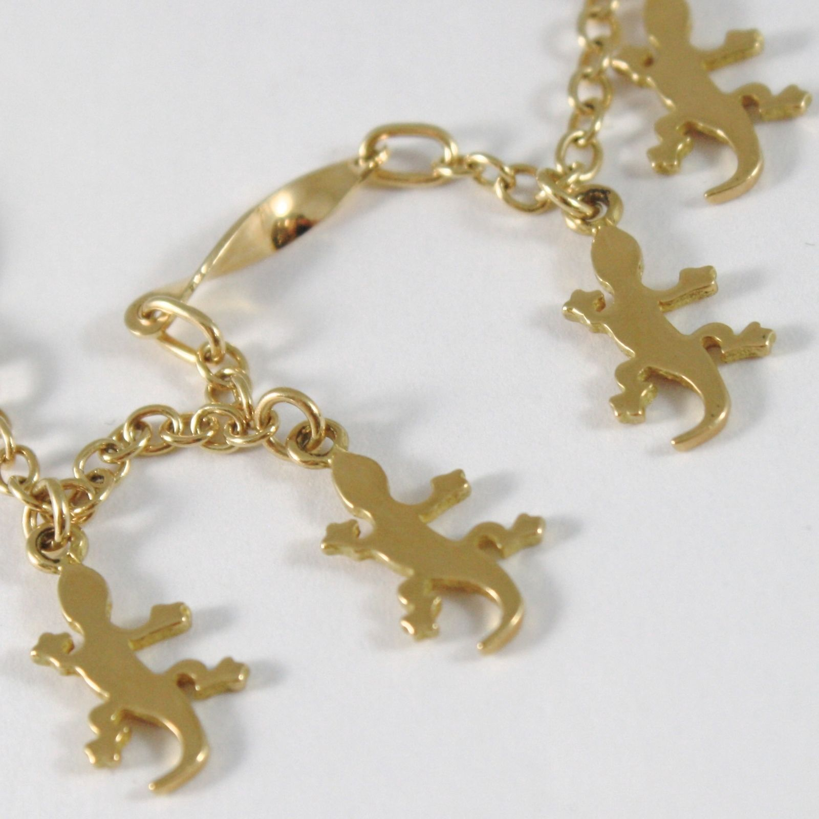 BRACELET YELLOW GOLD 750 18K WITH GECKO PENDANT, PENDANTS, ROLO' AND SPIRAL