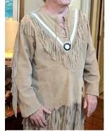 QASTAN Men Native American Mountain Man Buckskin Beige Suede Leather Shi... - $139.00