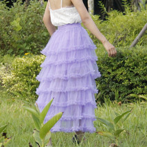 Women Purple Layered Tulle Skirt Outfit Plus Size Romantic Wedding Party Outfit  image 3