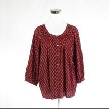 Red blue geometric 100% cotton CREME FRAICHE 3/4 sleeve button down blou... - $24.99