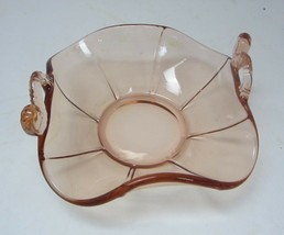 Pink Peach Depression Glass Dish / Bowl with Koi fish handles Fenton glass - $14.96