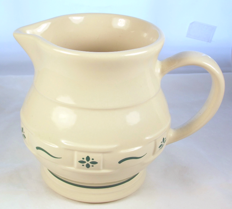 Longaberger Pottery Woven Traditions Heritage Green 1 qt pitcher 30431