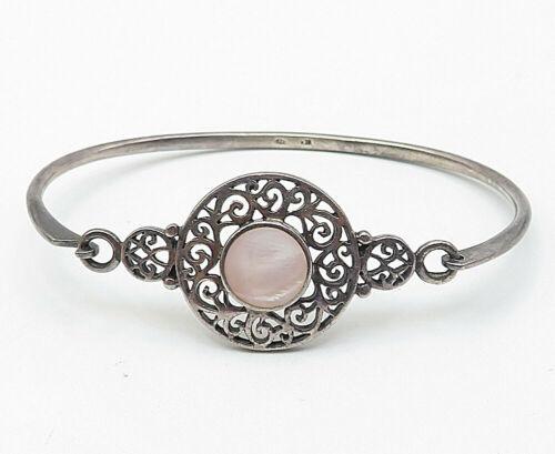 BOMA 925 Silver - Vintage Pink Mother Of Pearl Filigree Bangle Bracelet - B4915