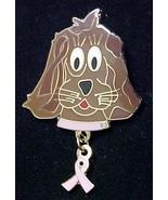 Breast Cancer Awareness Pink Ribbon Dangle Canine Dog K-9 Lapel Pin Tac New - $16.63