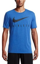 New Mens Nike Dri-Fit Royal Blue Spark Training Fitness Tee Swoosh Top MSRP $60 - $33.85