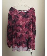 Ava & Viv Plus Size Black Cherry Floral Tunic Blouse Top NWT 2X - $19.46