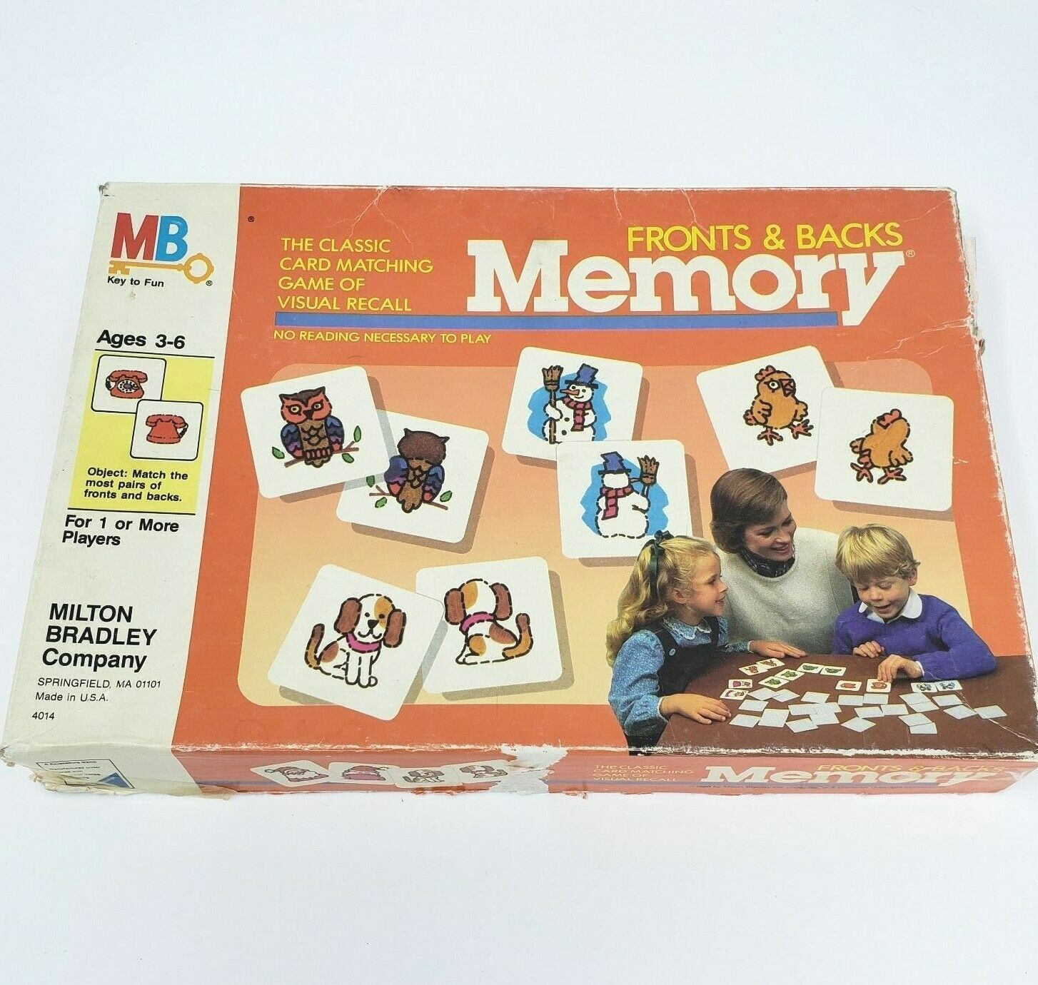 Primary image for VINTAGE 1980s MEMORY FRONTS AND BACKS MATCHING CARD GAME IN BOX MILTON BRADLEY