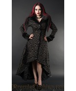 Women's Charcoal Grey Brocade Gothic Victorian Fall Winter Long Steampun... - $169.03