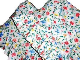 Vintage Pair Waverly White Floral Multi-color Ruffled Standard Shams Rare - $34.62