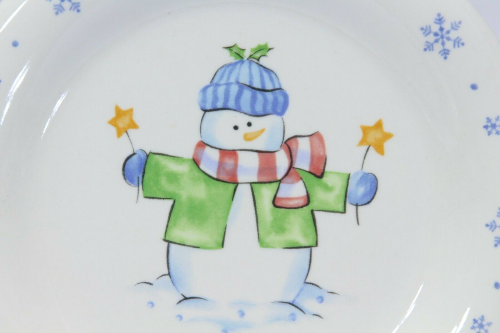 Enchanted Forest Xmas Snowman Snowflake Dinner and Salad Plates Lot of 8 image 4