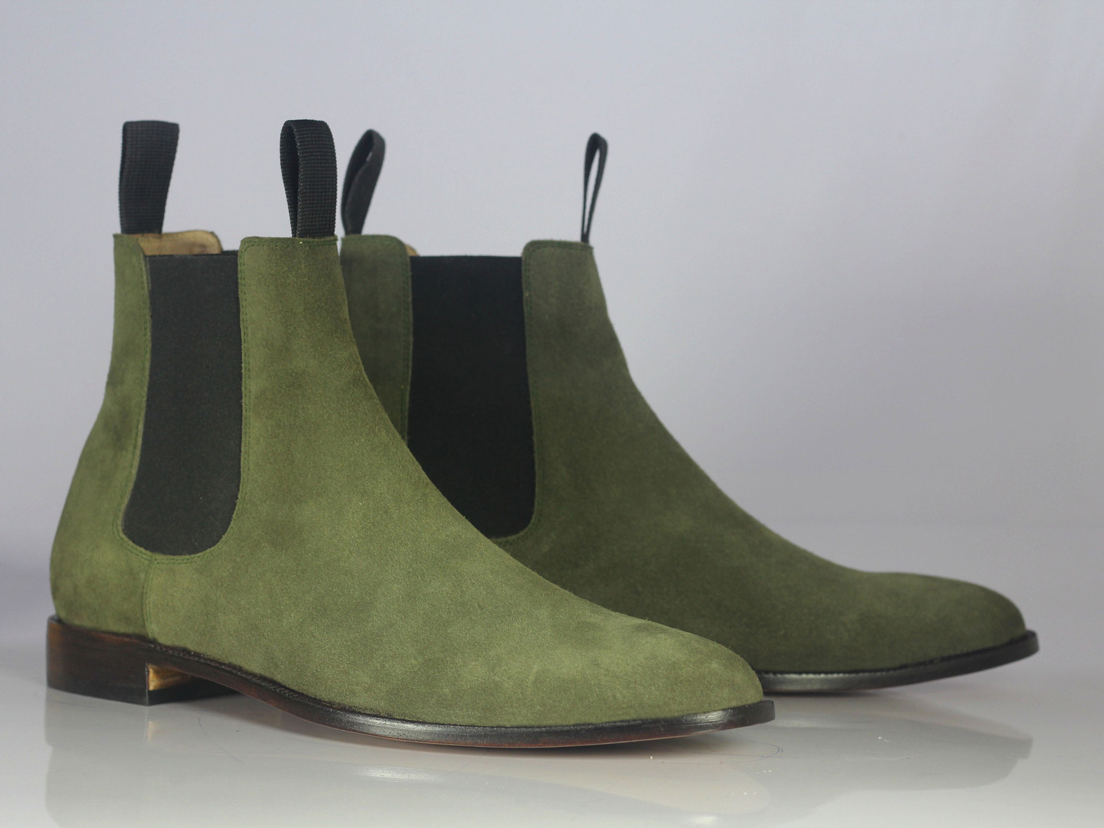 Handmade Men's Green Suede High Ankle Chelsea Boots