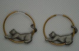 JJ JONETTE Pewter Cat On Gold Tone Hoops Pierced Earrings - $9.50