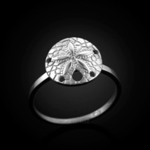 Dainty White Gold Sand Dollar Ladies Ring - £50.21 GBP