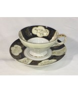 Vintage Royal Sealy Japan Footed Teacup And Saucer Black And Gold AL001 - $25.15