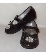 Black Dress Shoes Rhinestone Sparkly Size Toddler 8M Okie Dokie 2013 Mar... - $14.41