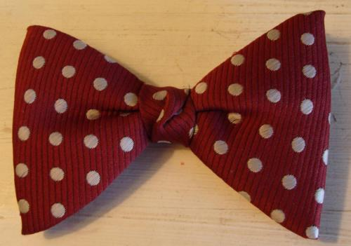 Vintage Polka Dot Clip on Butterfly Bow Tie Robin Red USA