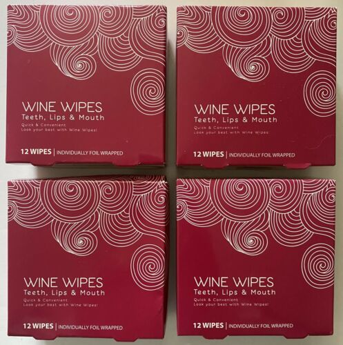 Lot of (4) boxes of 12ct Wine Wipes Teeth Lips & Mouth individually foil wrapped