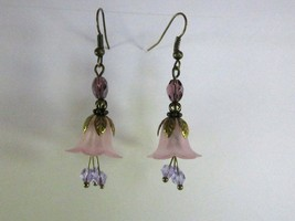 Handmade Frosted Pink Flower and Purple Fire Polished Glass Bronze Tone ... - $9.50