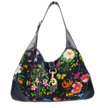 Gucci Flora Bouvier Hobo Medium Black Leather Bag with GHW - $499.00