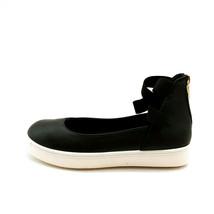 Bamboo Womans Grandslam Ankle Elastic Strap Sneaker Black Heel Zip Sz 6 M NEW - $21.45