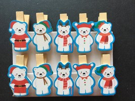 120pcs Christmas Party Decorations,Pin Clothespin,Wooden Pegs,Wooden Clips - £14.10 GBP