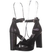 Nine West 987 Block Heel Ankle Strap Sandals, Black 179, Black, 5.5 US - $30.71