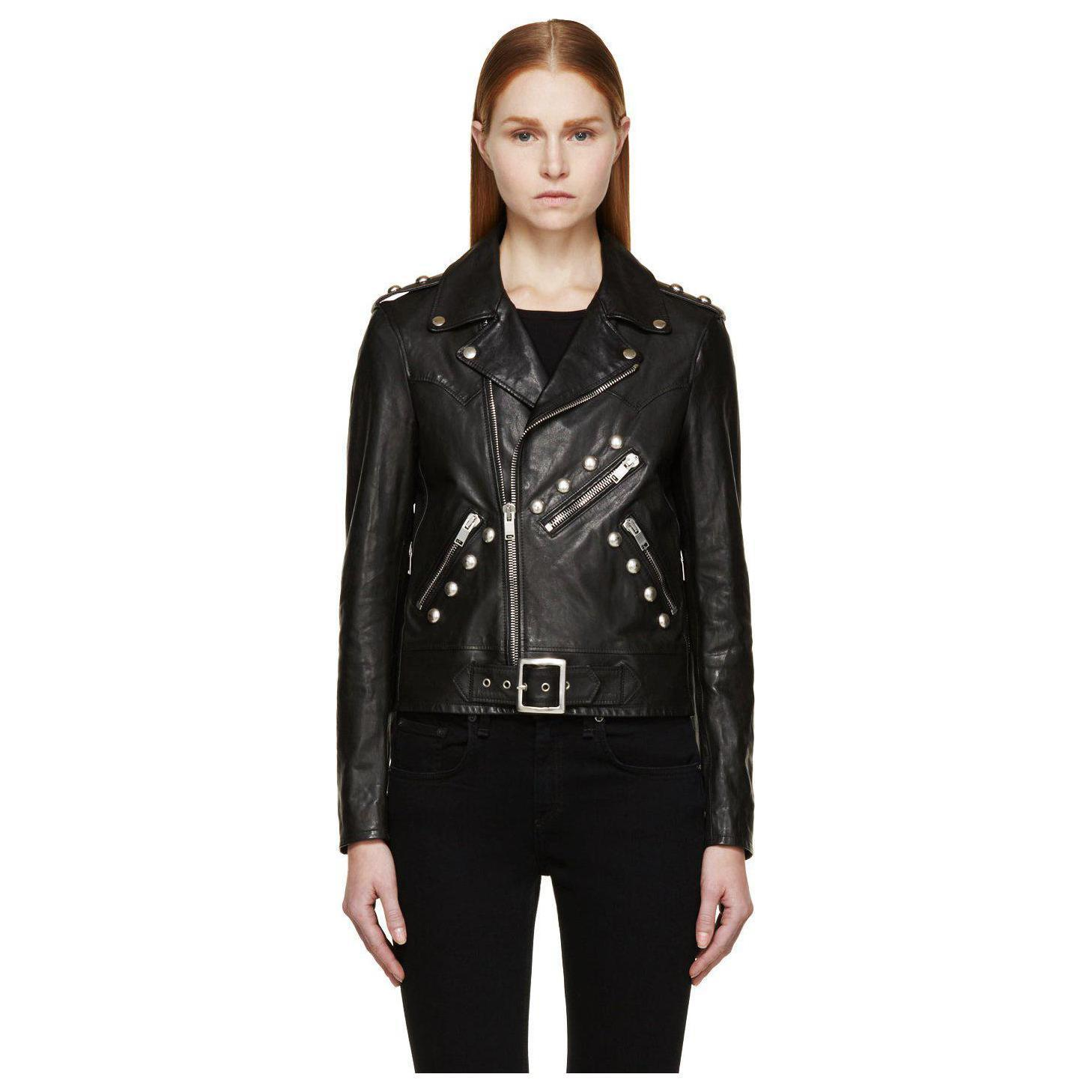 WOMEN BIKER MOTORCYCLE CASUAL SLIM FIT RIDER REAL GENUINE  LEATHER JACKET-A70