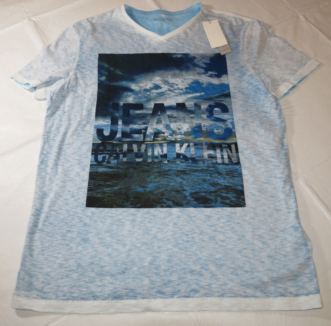 Primary image for Calvin Klein Jeans Mens short sleeve t shirt S small 4126231 Wild Blue 489