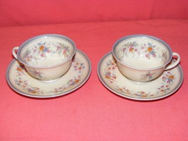 2 Rosenthal Cup & Saucer Sets Blue Gray Trim Multicolor Flowers Orange Pink - $15.00