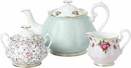 Royal Albert Modern Vintage Mix Teapot Cream Sugar 3 piece #40034975 New - $294.53
