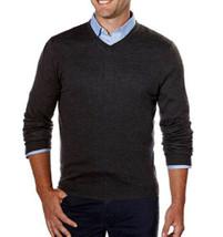 Calvin Klein Men's Extra Fine Merino Wool V-neck Sweater Dark Gray Size: 2XL - $29.69