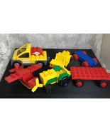 LEGO Duplo Lot of 4 Vehicles and 2 Trailers - Airplane Jeep Pizza Truck ... - $28.04