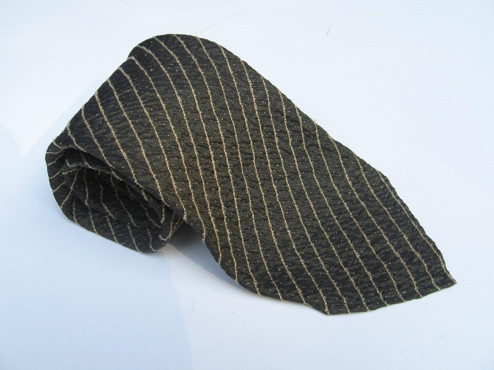 "Giorgio Armani Cravatte Pure Silk Tie Vintage Brown Stripes 61"" Long 31/2"" Wide - $33.85"