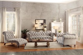 8469-3 3Pc Traditional Brown Tufted Almond Fabric Sofa Living Room Set